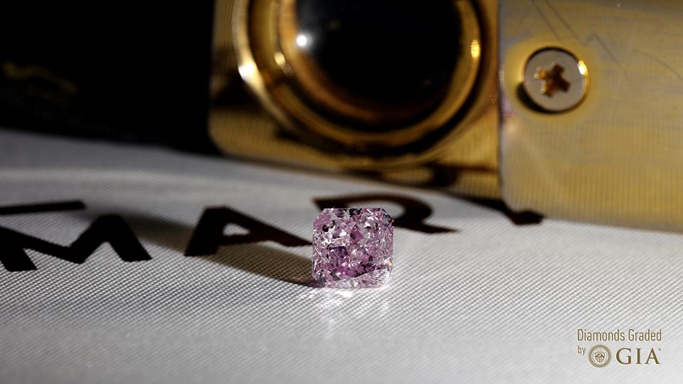 Diament naturalny o masie 1.01ct w barwie Fancy Pink-Purple