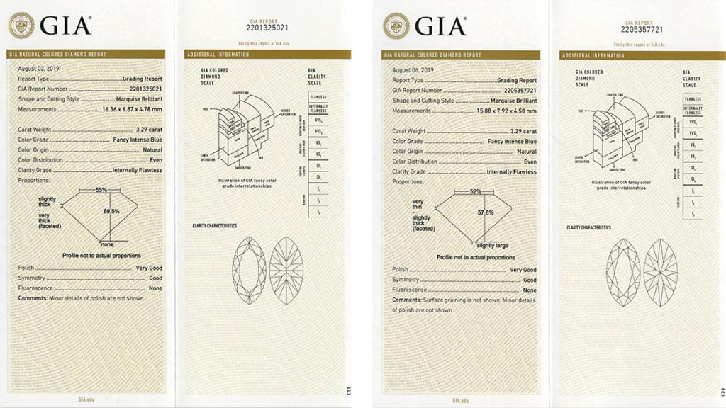 Kopie raportów GIA niebieskich diamentów z kolczyków