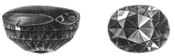 Koh-I-Noor  Po lewej przed przeszlifowaniem ~ 186ct   po prawej po przeszlifowaniu 105,60ct