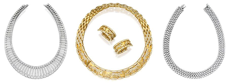 Naszyjniki z diamentami sprzedane podczas aukcji Sotheby's